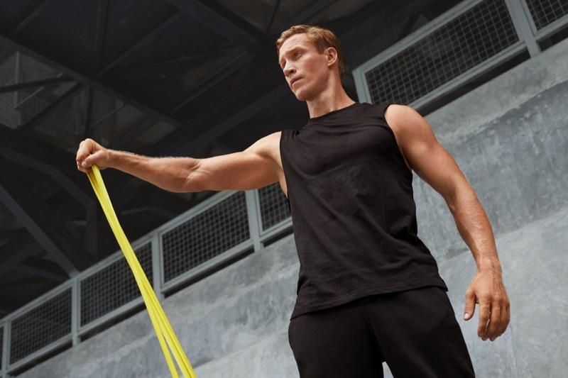 Male Model Workout Black Tank Pants Stretch
