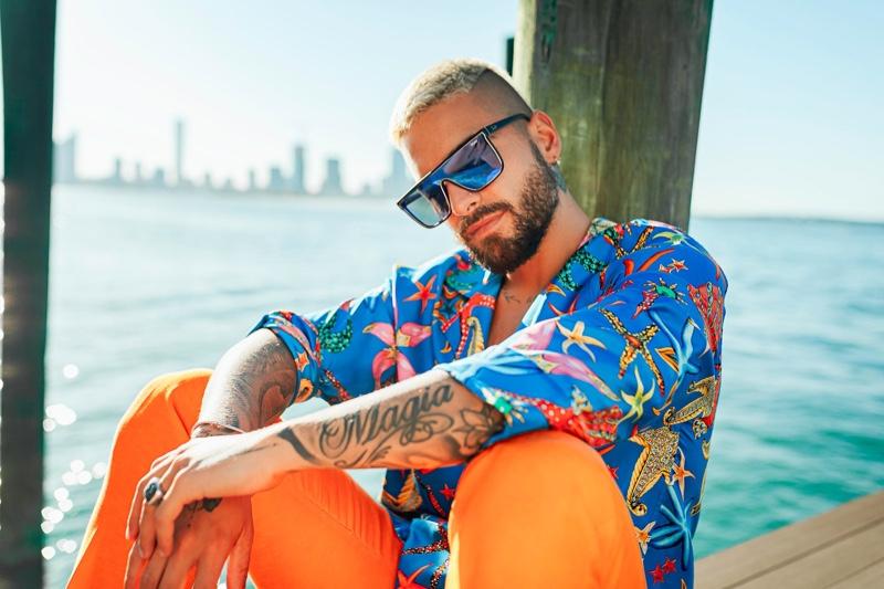 Embracing a retro attitude, Maluma wears Quay's bestselling Nightfall sunglasses.