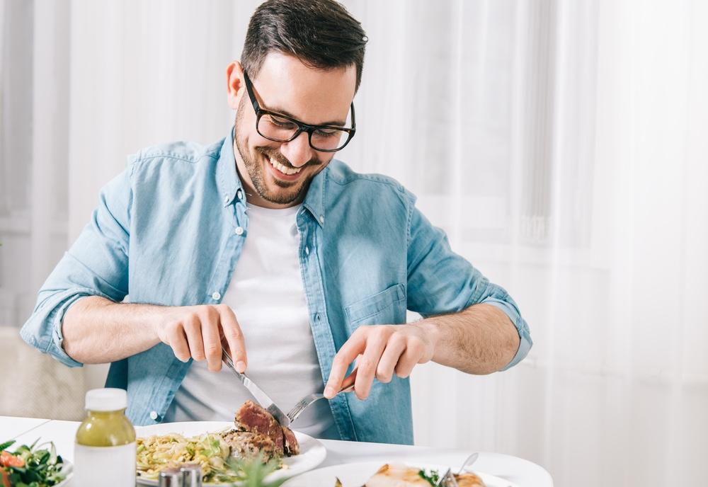 Man Smiling Eating Healthy Plate Food