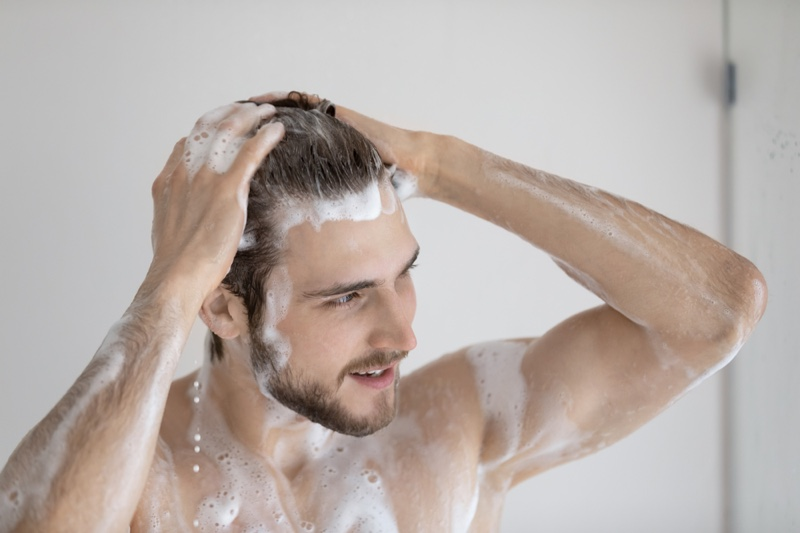 Man Washing Hair Shower