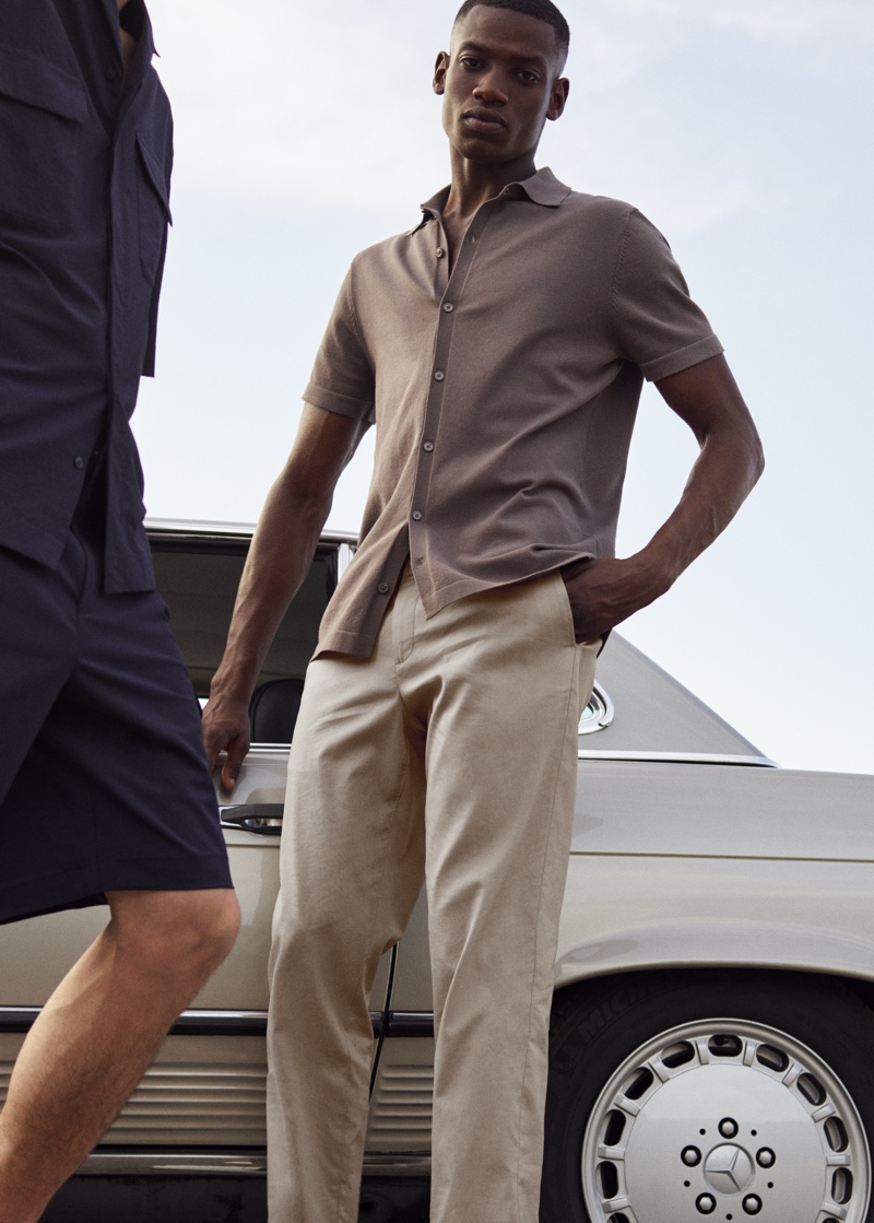 """Standing tall at 6' 1½"""", Bambi Kouyate looks amazing in Mango Man's new Clean collection."""
