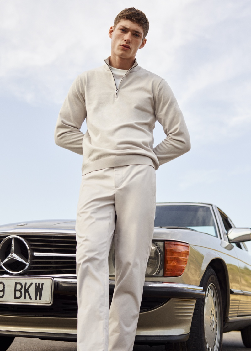 Valentin Humbroich embraces neutral tones in a fresh look from Mango Man's Clean collection.