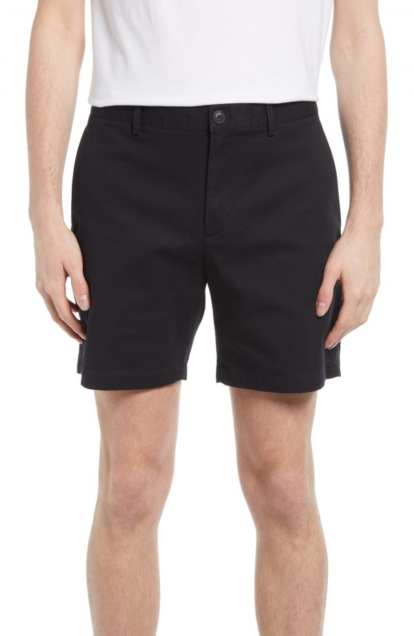 Men's Club Monaco Baxter Stretch Cotton Chino Shorts, Size 32 - Black