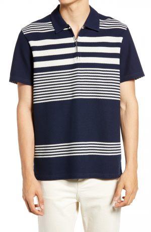 Men's Club Monaco Block Stripe Polo, Size Large - Blue