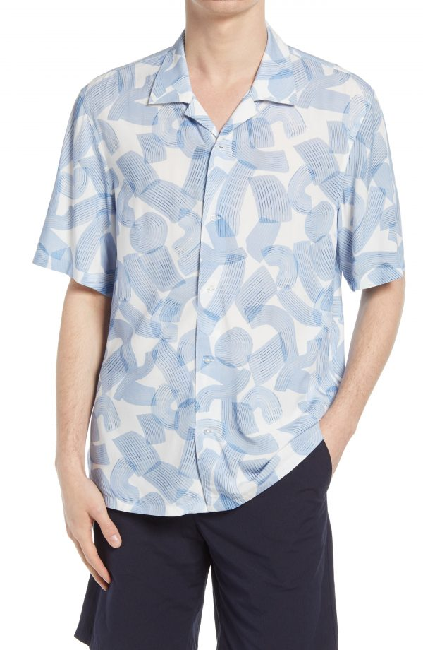 Men's Club Monaco Brush Print Short Sleeve Button-Up Camp Shirt, Size Small - Blue