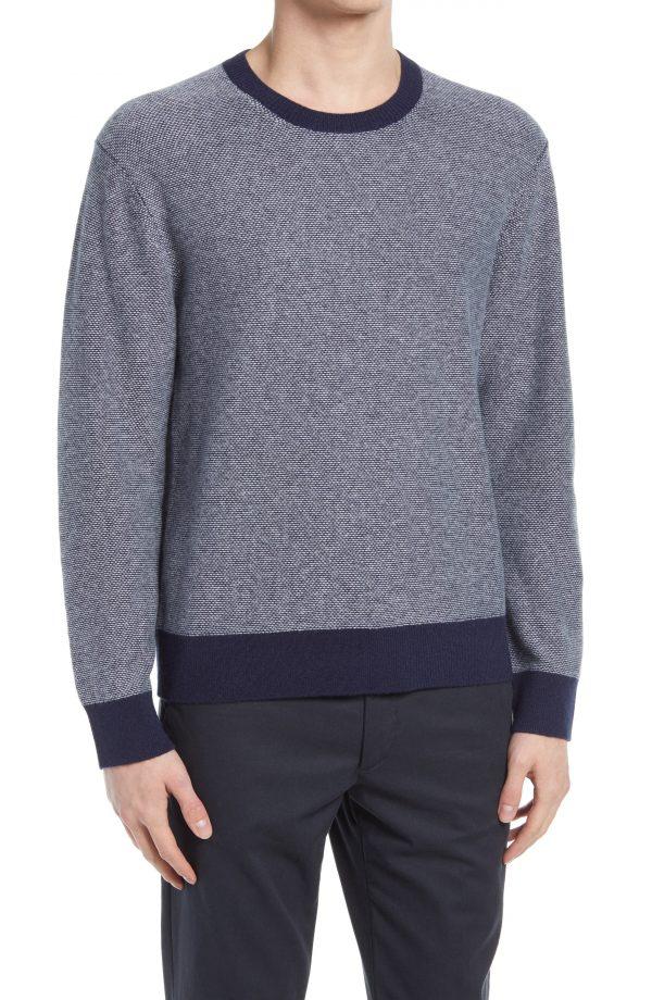 Men's Club Monaco Cashmere Lounge Crewneck Sweater, Size X-Large - Blue