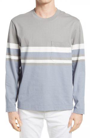 Men's Club Monaco Colorblock Long Sleeve Pocket T-Shirt, Size Small - Blue