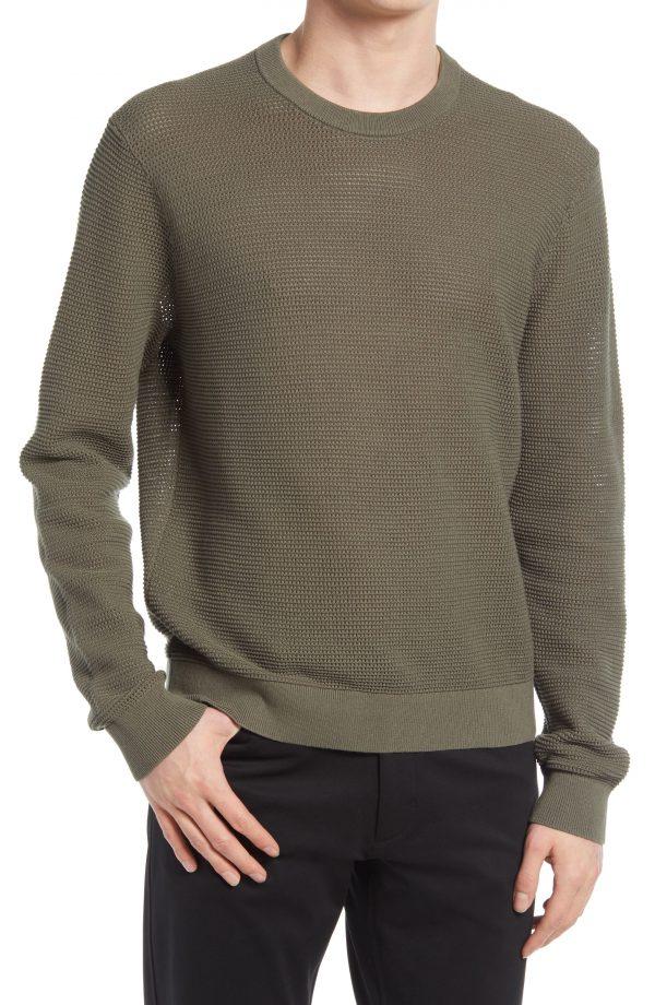Men's Club Monaco Cotton Mesh Sweater, Size Large - Green