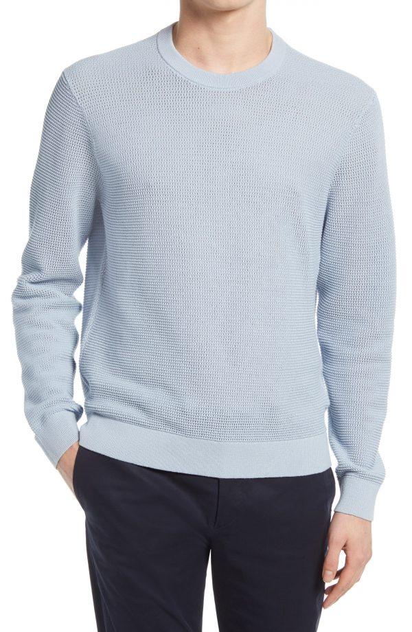 Men's Club Monaco Cotton Mesh Sweater, Size X-Small - Blue