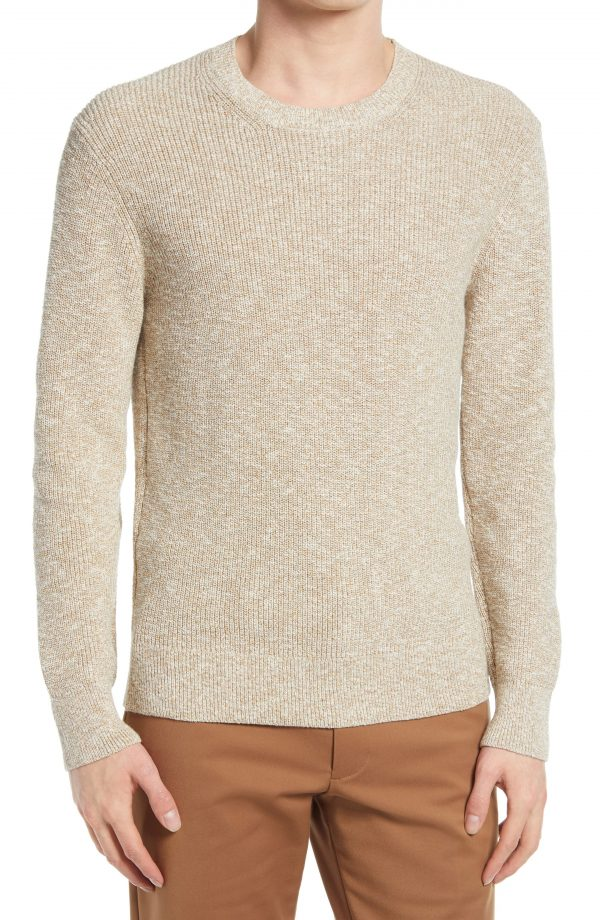 Men's Club Monaco Feel Good Crewneck Sweater, Size Medium - Beige