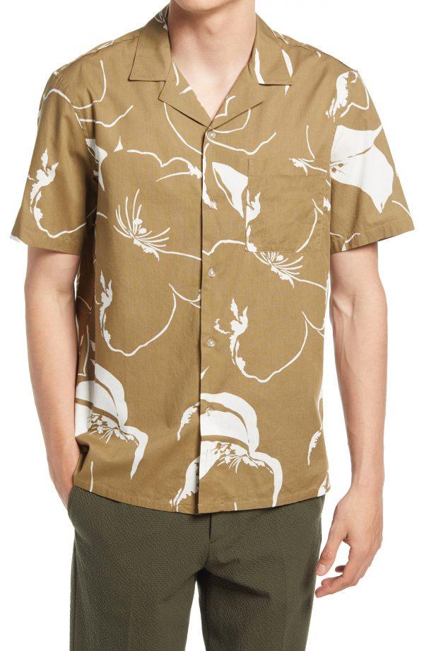 Men's Club Monaco Floral Print Button-Up Camp Shirt, Size XX-Large - Green