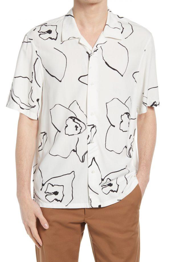 Men's Club Monaco Floral Print Short Sleeve Button-Up Shirt, Size X-Large - White