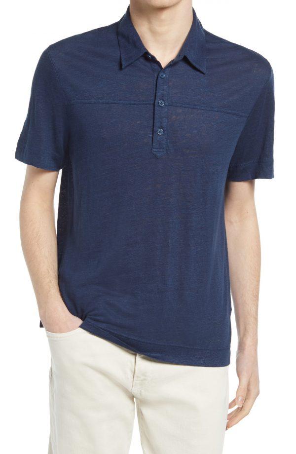 Men's Club Monaco Heathered Linen Polo, Size Medium - Blue