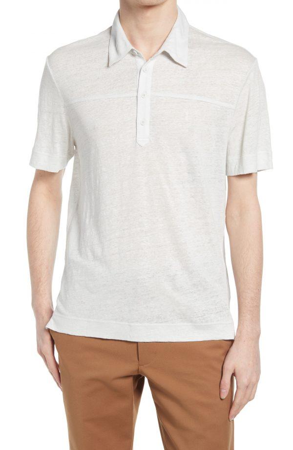 Men's Club Monaco Heathered Linen Polo, Size Medium - Grey