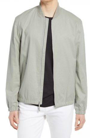 Men's Club Monaco Linen Blend Bomber Jacket, Size Medium - Green