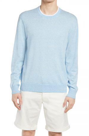 Men's Club Monaco Linen Blend Crewneck Sweater, Size Small - Blue