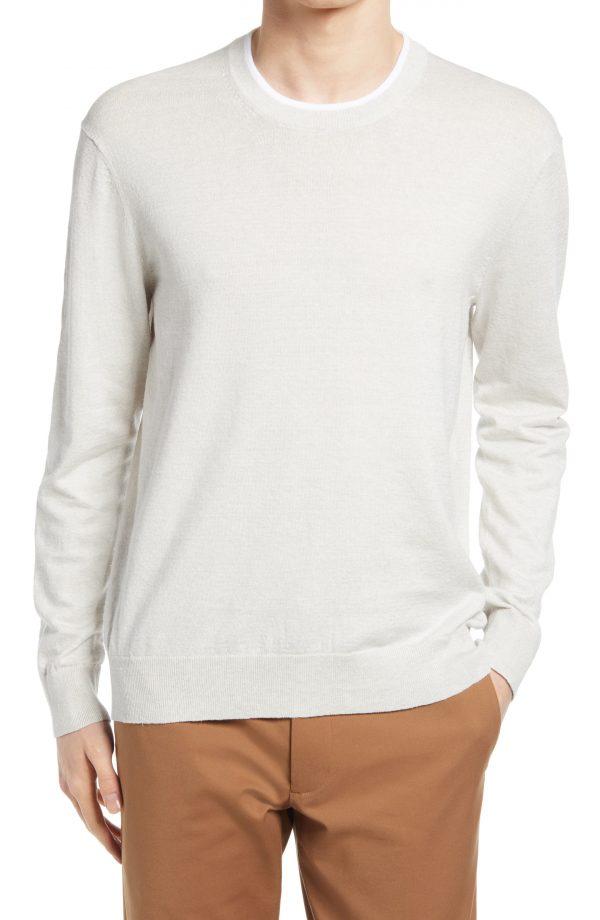 Men's Club Monaco Linen Blend Crewneck Sweater, Size Small - Grey