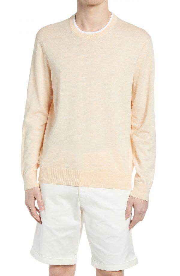 Men's Club Monaco Linen Blend Crewneck Sweater, Size Small - Orange