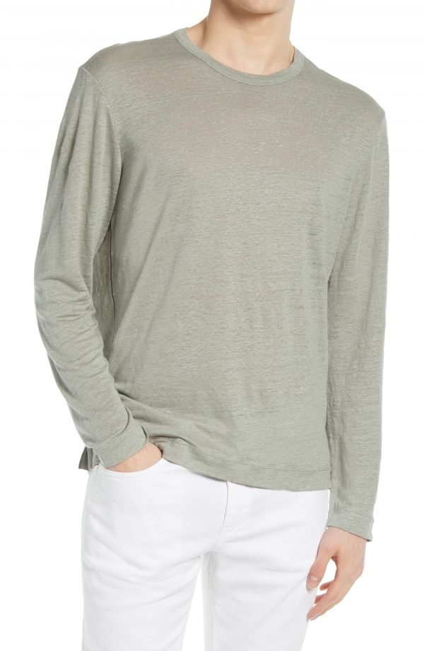 Men's Club Monaco Linen Long Sleeve Crewneck T-Shirt, Size Small - Grey