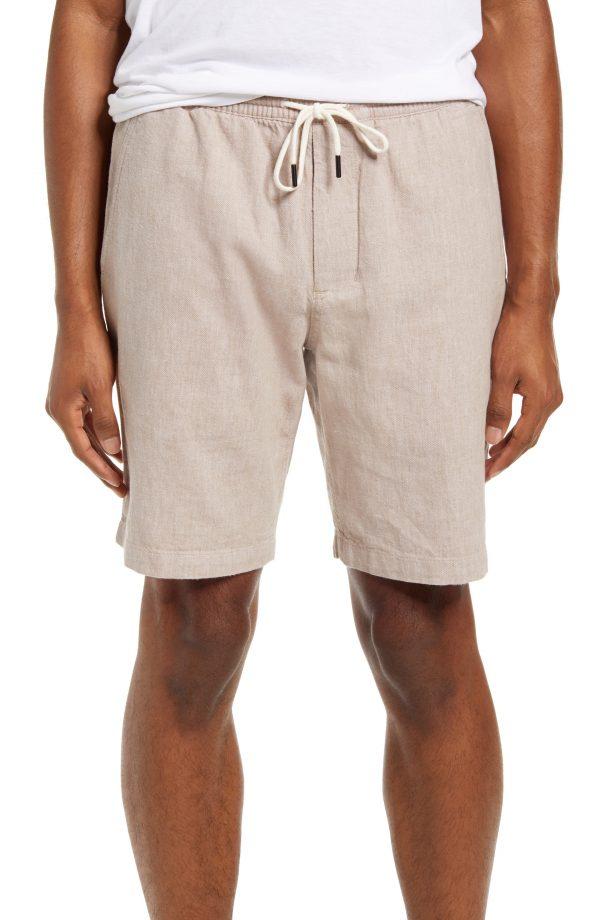 Men's Club Monaco Linen & Cotton Beach Shorts, Size Small - Beige