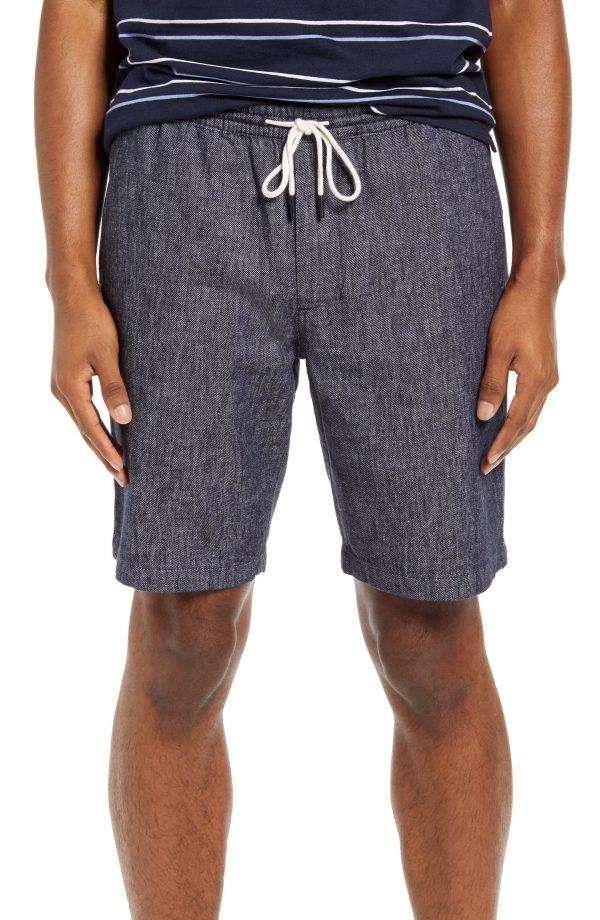 Men's Club Monaco Linen & Cotton Beach Shorts, Size Small - Blue