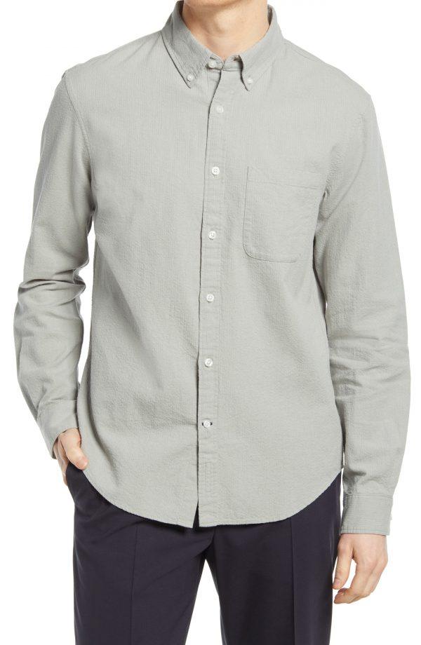 Men's Club Monaco Linen & Cotton Seersucker Button-Down Shirt, Size Small - Grey