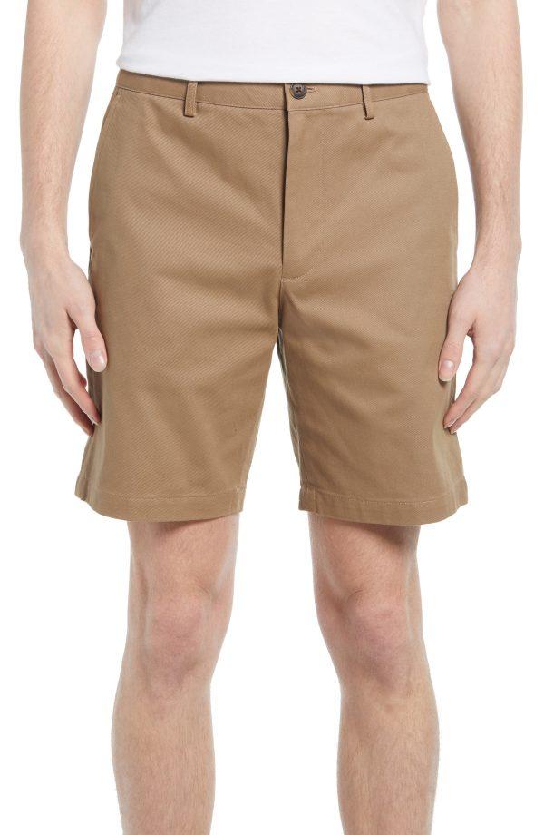 Men's Club Monaco Maddox Cotton Chino Shorts, Size 29 - Brown