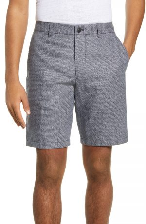 Men's Club Monaco Maddox Slim Fit Arch Print Shorts, Size 28 - Blue