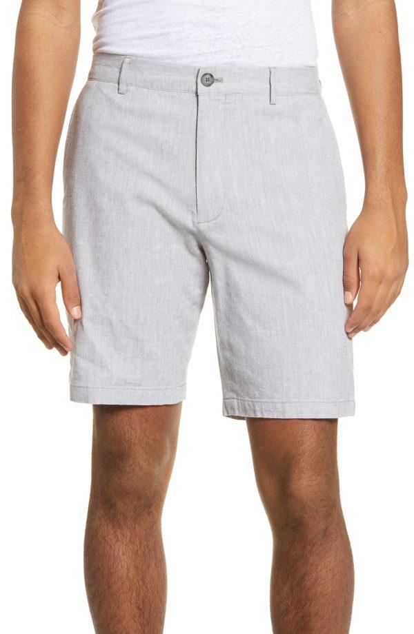 Men's Club Monaco Maddox Slim Fit Chambray Shorts, Size 36 - Grey