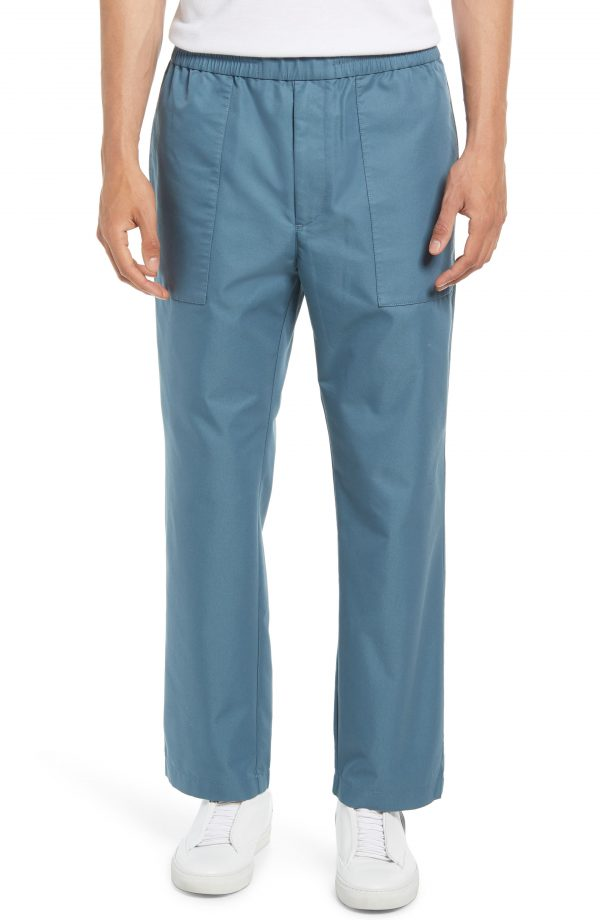 Men's Club Monaco Men's Cropped Utility Pants, Size Medium - Blue