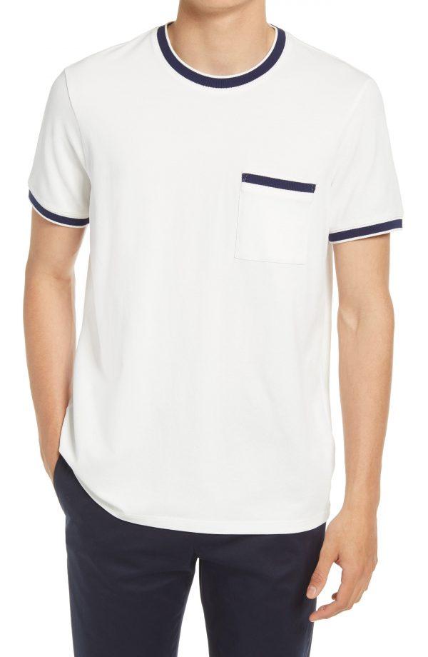 Men's Club Monaco Men's Ringneck T-Shirt, Size Large - White