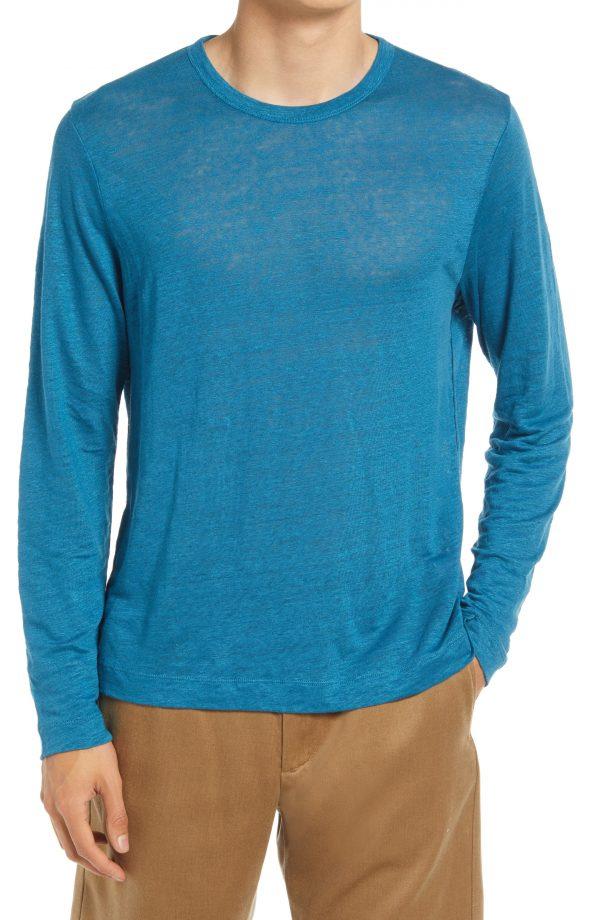 Men's Club Monaco Men's Williams Long Sleeve Linen T-Shirt, Size Medium - Blue