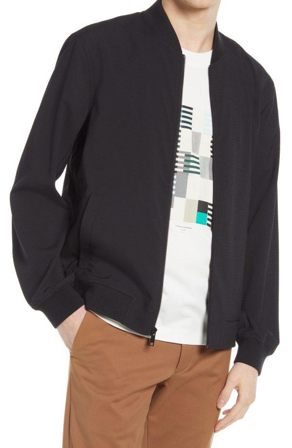 Men's Club Monaco Mesh Bomber Jacket, Size Large - Black
