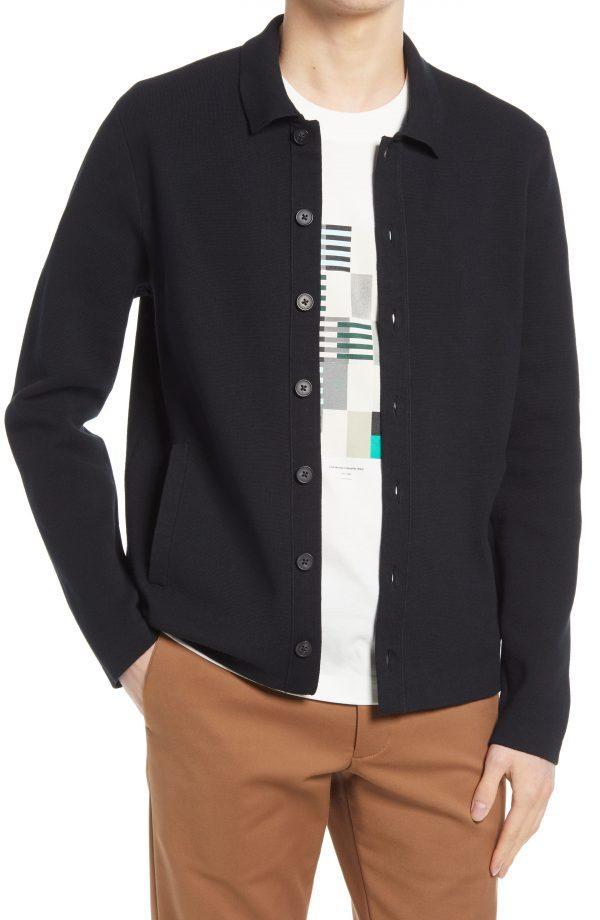 Men's Club Monaco Milano Cotton Blend Cardigan, Size Medium - Black