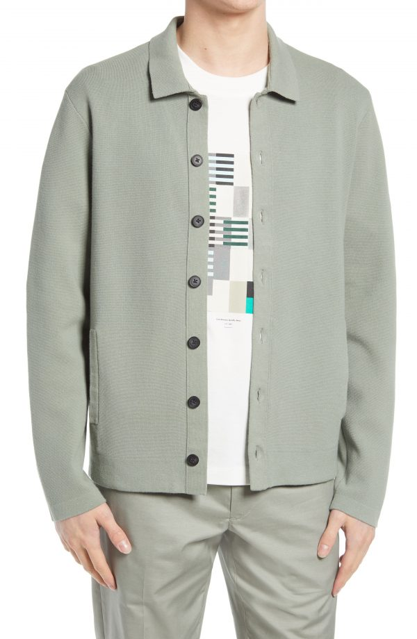 Men's Club Monaco Milano Cotton Blend Cardigan, Size Small - Grey
