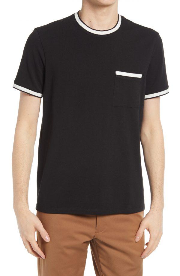 Men's Club Monaco Pique Crewneck Pocket T-Shirt, Size Small - Black