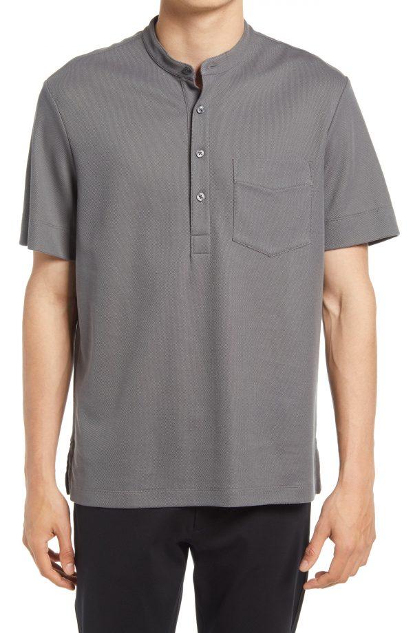 Men's Club Monaco Pique Short Sleeve Henley, Size Medium - Grey