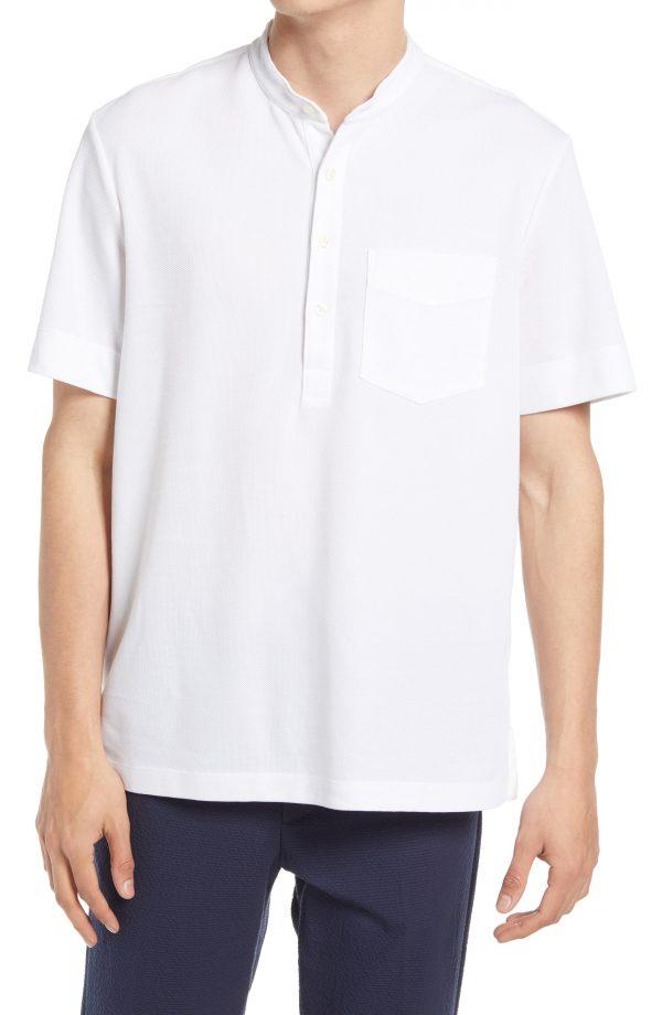 Men's Club Monaco Pique Short Sleeve Henley, Size Small - White