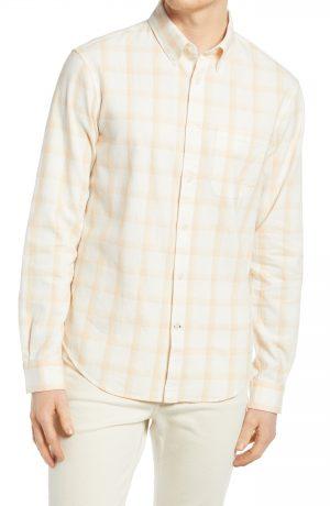 Men's Club Monaco Plaid Stretch Button-Down Shirt, Size Small - White