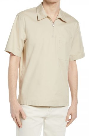Men's Club Monaco Popover Short Sleeve Quarter Zip Shirt, Size Small - Beige