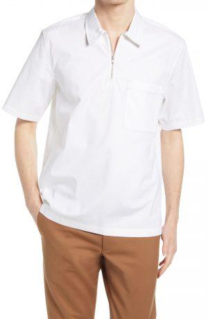 Men's Club Monaco Popover Short Sleeve Quarter Zip Shirt, Size Small - White