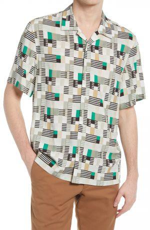Men's Club Monaco Print Short Sleeve Camp Shirt, Size Small - Green