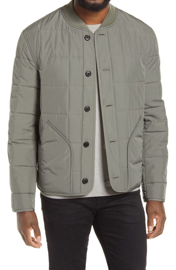 Men's Club Monaco Quilted Jacket, Size Small - Grey