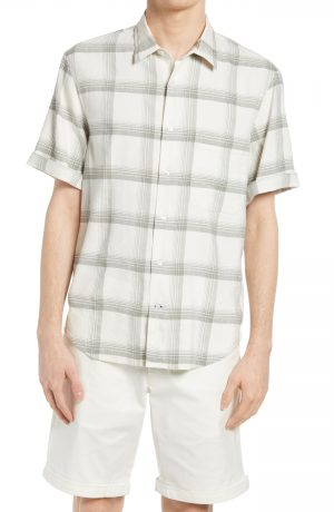 Men's Club Monaco Roll Cuff Short Sleeve Linen Blend Button-Up Shirt, Size Small - White
