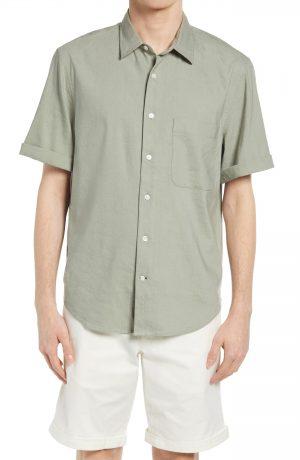 Men's Club Monaco Short Sleeve Linen Blend Button-Up Shirt, Size Small - Grey