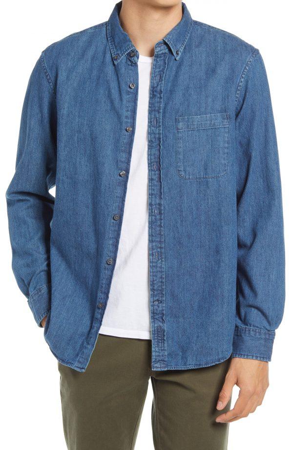 Men's Club Monaco Slim Fit Button-Down Denim Shirt, Size Large - Blue