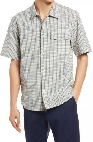 Men's Club Monaco Slim Fit Check Stretch Seersucker Short Sleeve Button-Up Shirt, Size Small - Grey