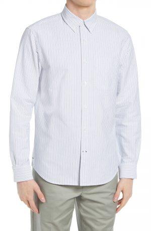 Men's Club Monaco Slim Fit Multistripe Button-Down Shirt, Size X-Small - Blue
