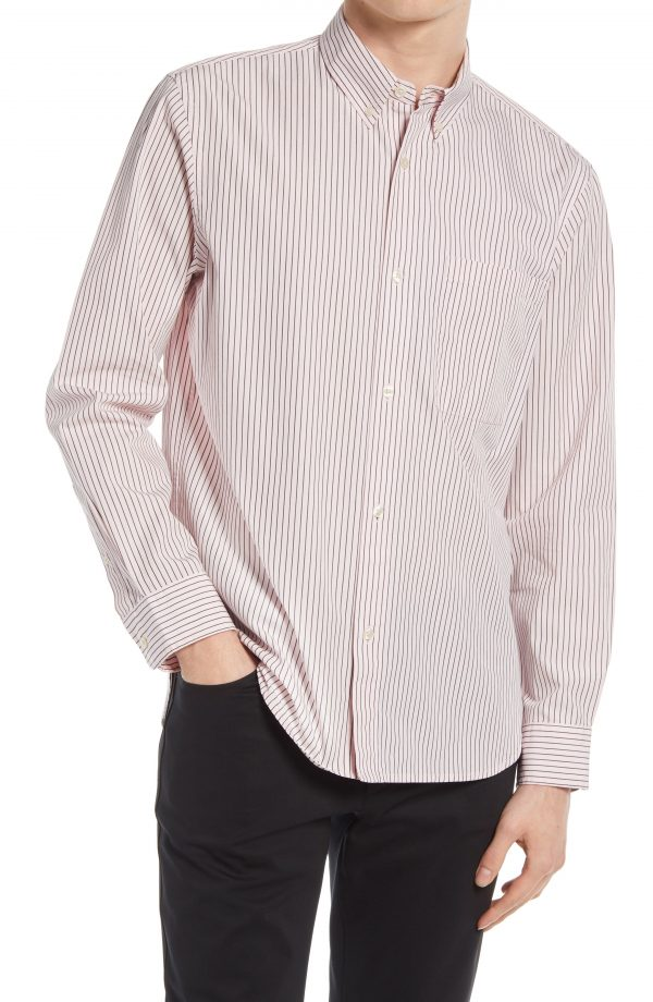 Men's Club Monaco Slim Fit Stripe Button-Down Shirt, Size Medium - Pink