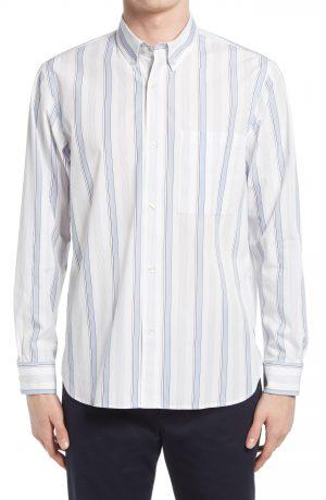 Men's Club Monaco Slim Fit Stripe Button-Down Shirt, Size Small - White